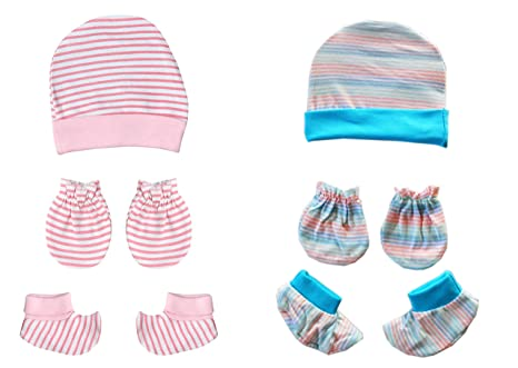 0499b87ae NammaBaby Striped Cap Mittens Booties for New Born Pack of 2 - (0-6 ...