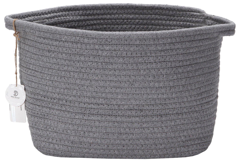 Sea Team 10 Natural Cotton Thread Woven Rope Storage Basket Bin Hamper with Handles for Nursery Kid's Room Storage (Grey) by Sea Team ST-SB0805B