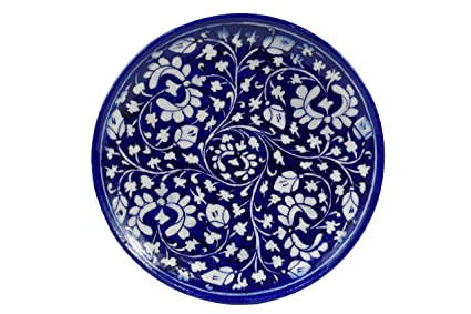 buy blue pottery handmade decorative wall plate with floral design
