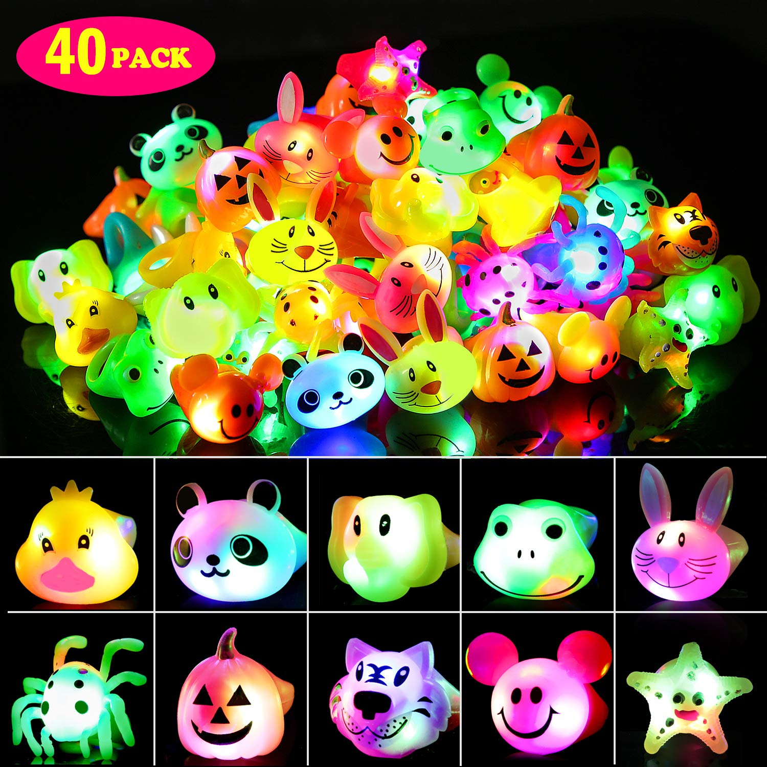 SCIONE Party Favor for Kids Birthday 40 Pack Light Up Rings Glow in The Dark Party Supplies Ring Prizes for Kids Classroom LED Jelly Rings Glow Blinking Novelty Bulk by SCIONE