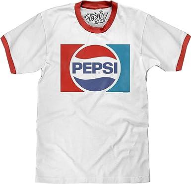 Amazon.com: Tee Luv Pepsi T-Shirt - Classic Pepsi Cola Ringer T ...