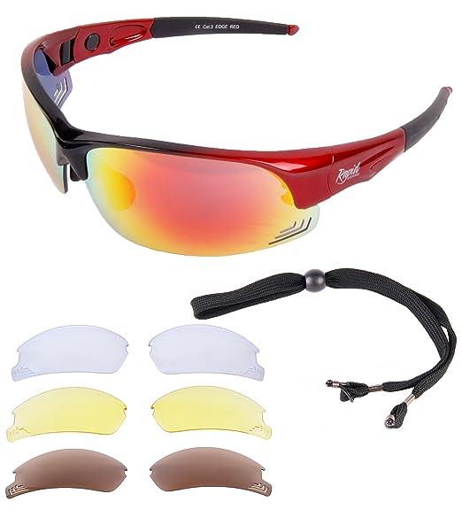 Rapid Eyewear hombres y mujeres Edge Red Cycle GAFAS DE SOL PARA CICLISMO con lentes intercambiables. Protección UV400. También para correr y ...