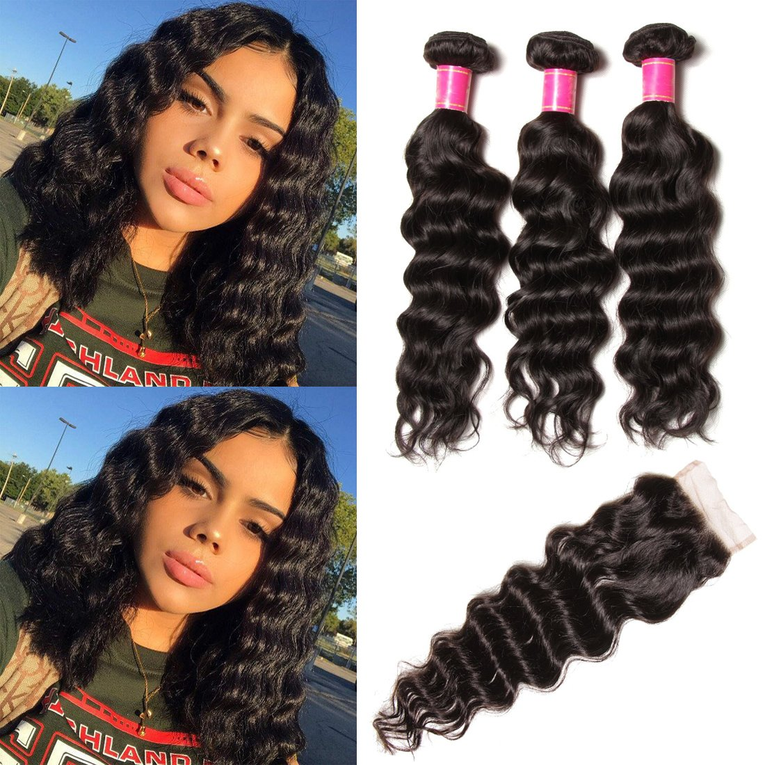 YIROO Brazilian Natural Wave 3 Bundles with 4''x4''Lace Closure Free Part 100% Virgin Human Hair Extensions Natural Color (12 14 16+10''Closure)