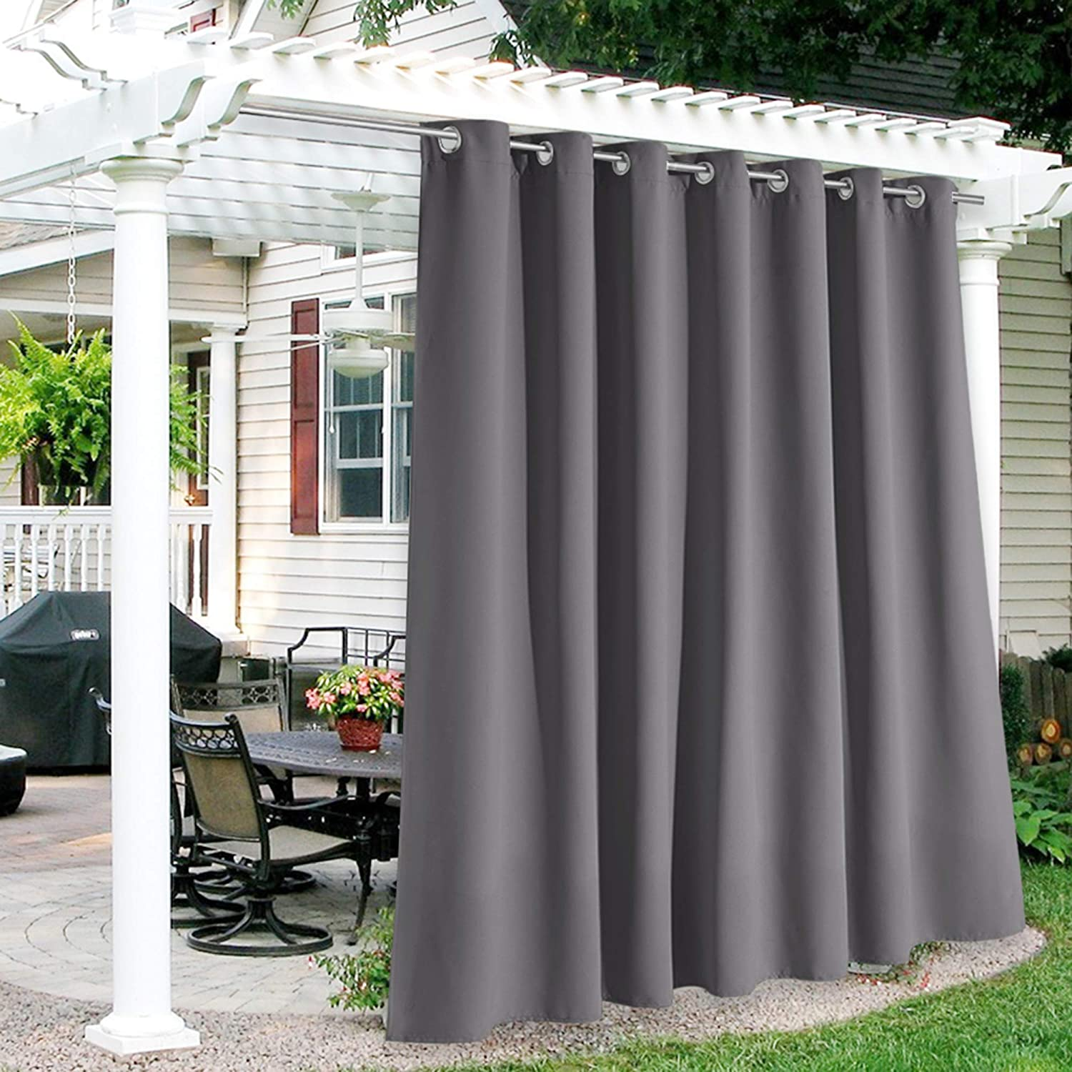 RYB HOME 100 inch Width Outdoor Waterproof Curtains, Sunlight Blackout Insulated Drapes for High Ceiling Patio Door / Front Porch / Pavilion / Arbor, 100 x 108 inches Long, 1 Panel, Grey