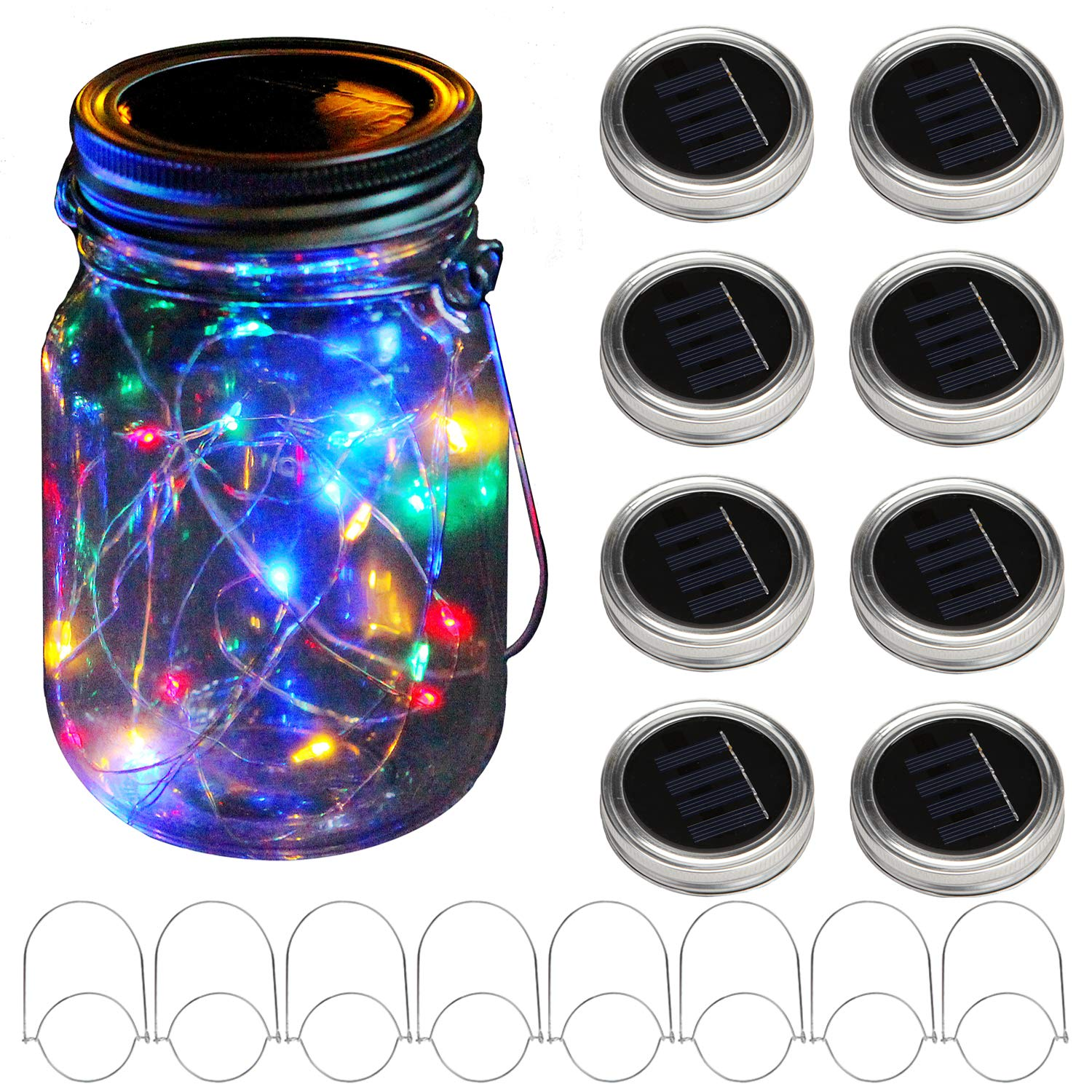 KZOBYD 8 Pack Solar Mason Jar Lid String Lights with 8 Handles,Fairy Starry Firefly Lights Kit Hanging for Outdoor Indoor Patio Wedding Decor(Jars Not Included)(8, Colorful 10LED)