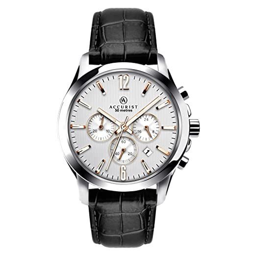 af7dd34cb Accurist Men's Quartz Watch with Silver Dial Chronograph Display and Black  Leather Strap 7199