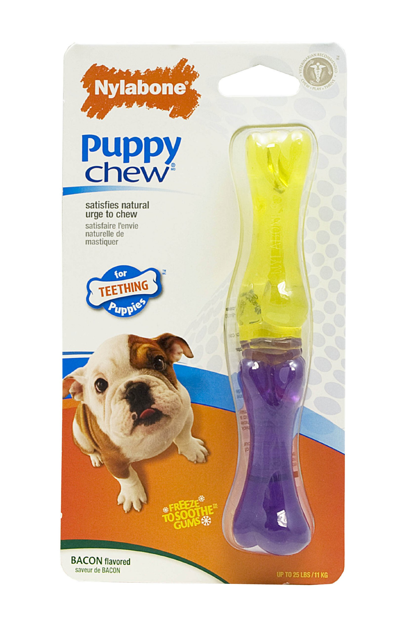 Nylabone Just For Puppies Bacon Flavored Stick Bone Puppy Dog Teething Chew Toy