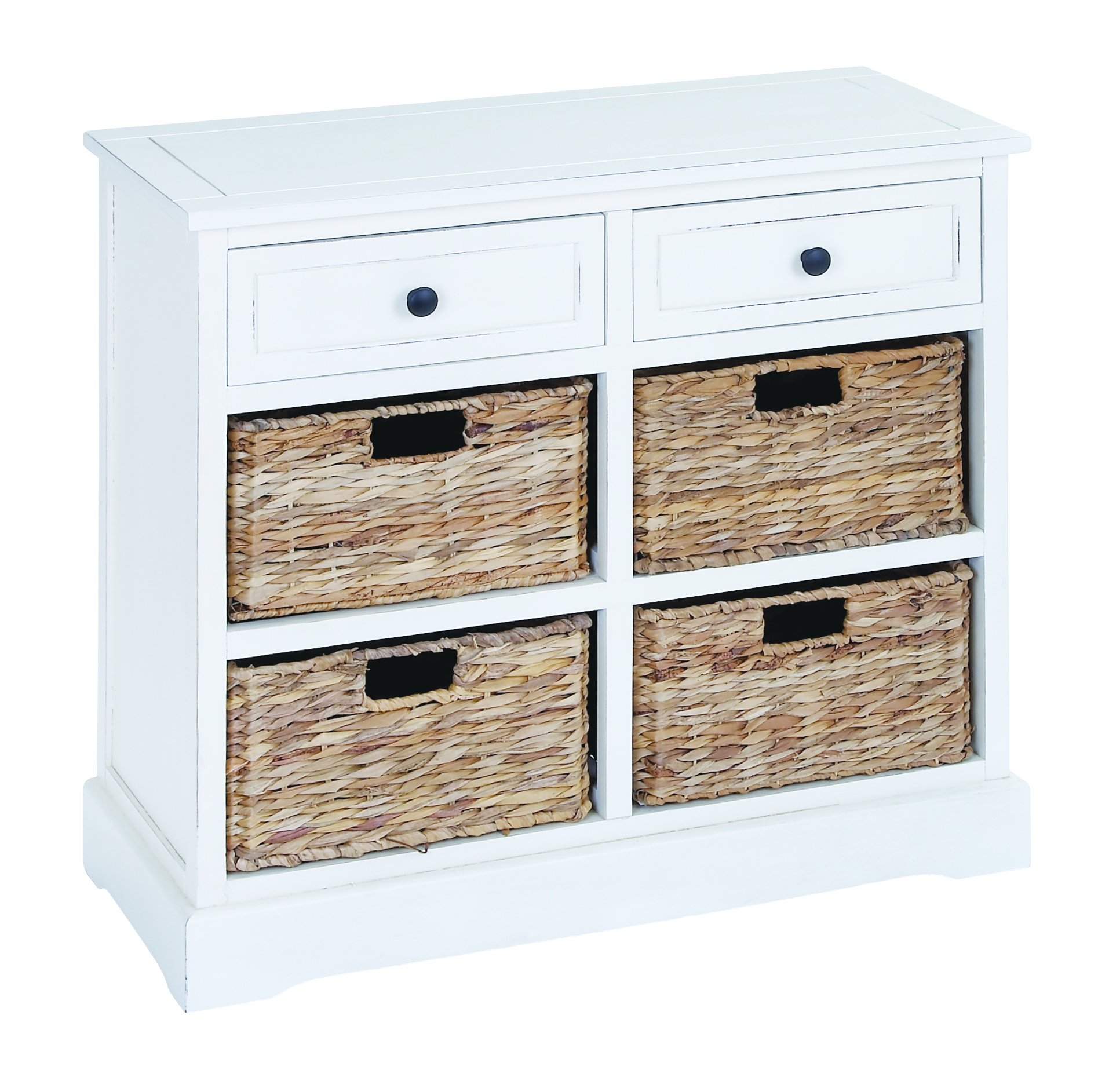 Benzara 96191 Basket Cabinet with Fine Detailing in Exclusive White Color