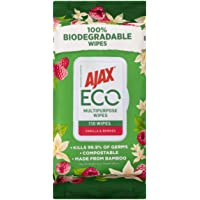 Ajax Eco Multipurpose Antibacterial Disinfectant Biodegradable Compostable Surface Cleaning Wipes Vanilla & Berries Bulk…