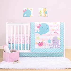 The Peanutshell Sea Sweeties Crib Bedding Set for Baby Girls | 3 Piece Nursery Set | Baby Quilt, Crib Sheet, and Dust Ruffle