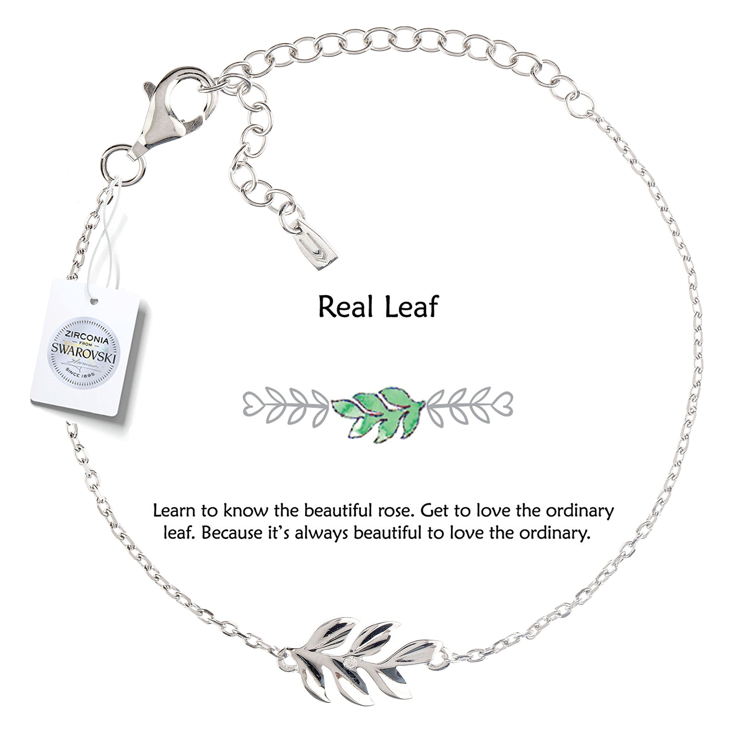 Vivid&Keith Women's Bracelet 925 Sterling Silver Jewelry Rhodium Plated Adjustable With Swarovski Zirconia Leaf Charm Bracelet