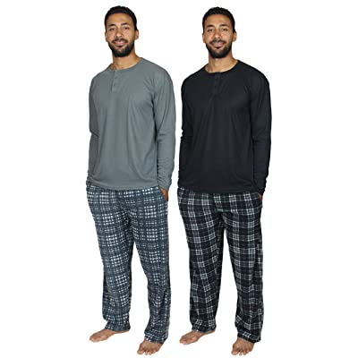 4 Piece: Men's Fleece Pajama Set Long Sleeve Waffle Henley Top and Pajama Pants with Pockets: Clothing