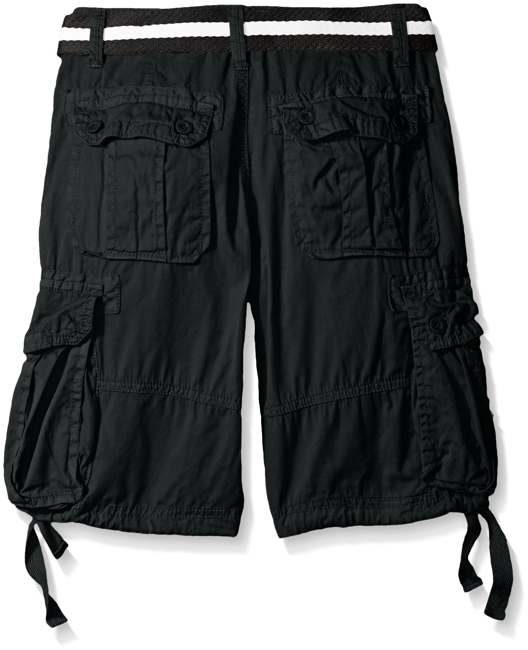 Southpole Big Boys Belted Fine Twill Basic Cargo Short, Black, 12 by Southpole (Image #2)