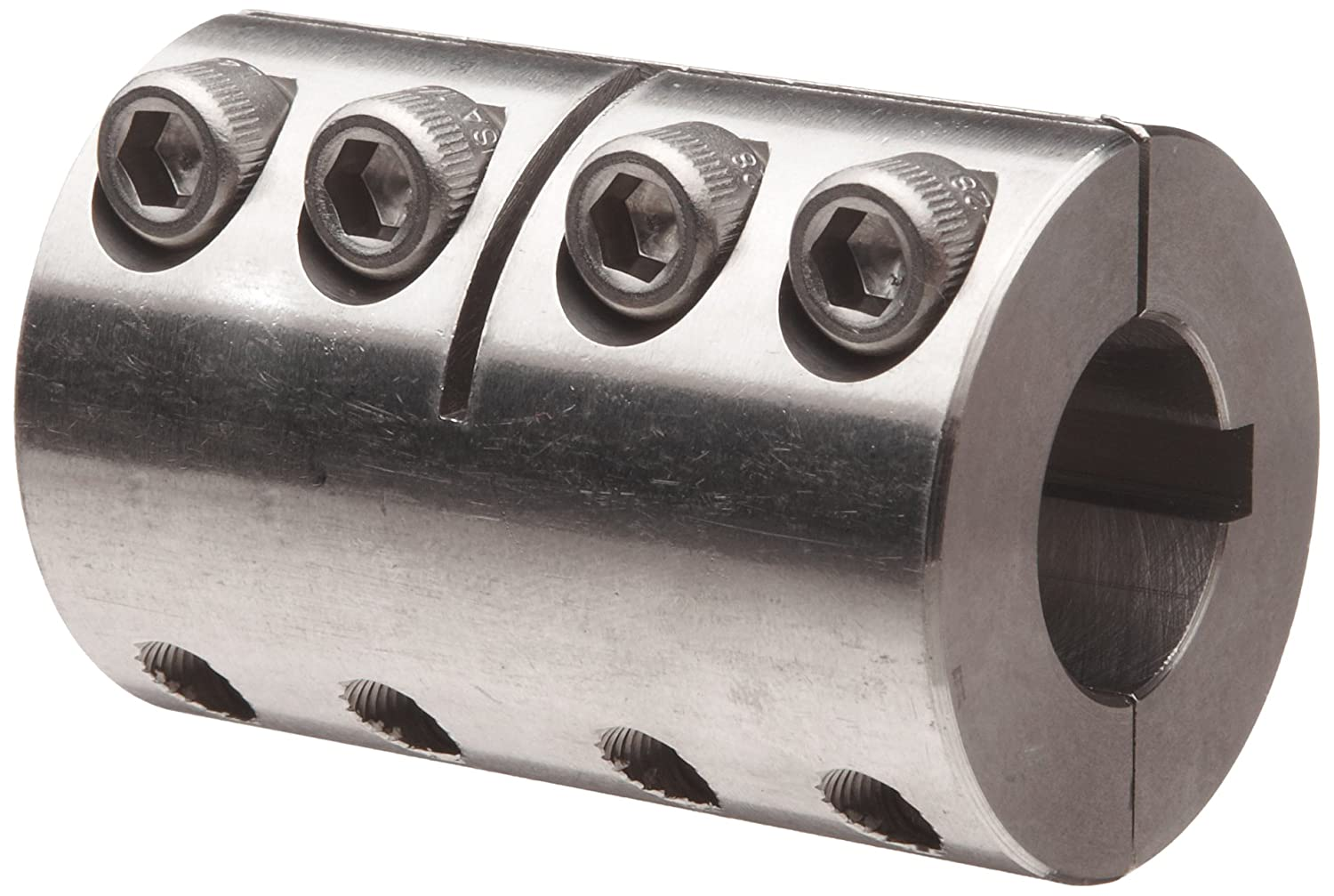 Ruland SPC-18-18-SS Two-Piece Clamping Rigid Coupling with Keyway, Stainless Steel, 1-1/8' Bore A Diameter, 1-1/8' Bore B Diameter, 1-7/8' OD, 3-1/8' Length, 1/4' x 1/4' Keyway Width