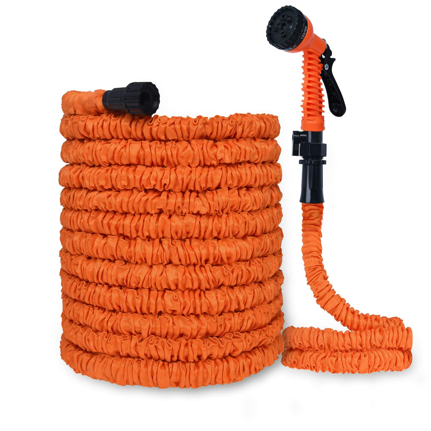 PanShield Expandable 100ft Garden Hose Lightweight and Kink Free Flexible Water Hose with Economic 7 Function Plastic Spray Nozzle Perfect Easy for Daily Use Orange