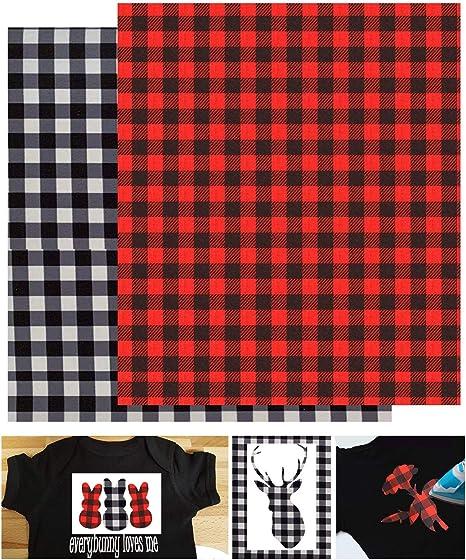 2 láminas de vinilo autoadhesivo para camisa con diseño de cuadros de búfalo de 12 x 12 pulgadas (cuadros rojos de búfalo y cuadros blancos y negros): Amazon.es: Juguetes y juegos