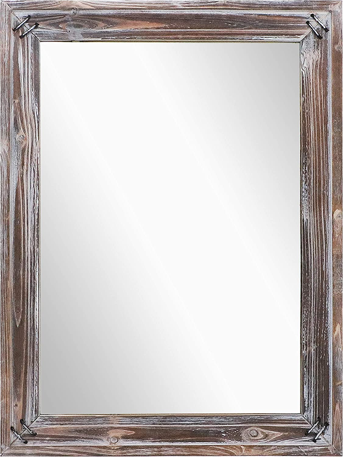"Barnyard Designs Decorative Wall Hanging Mirror, Rustic Vintage Farmhouse Distressed Wood and Metal Mirror Wall Decor, 18"" x 24"""