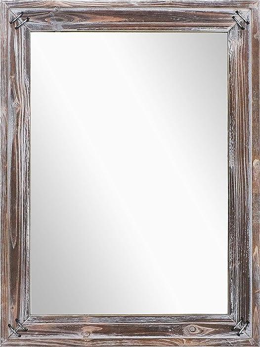 "Barnyard Designs Decorative Wall Hanging Mirror, Rustic Vintage Farmhouse Distressed Wood and Metal Mirror Wall Decor, 18"" x 24"""