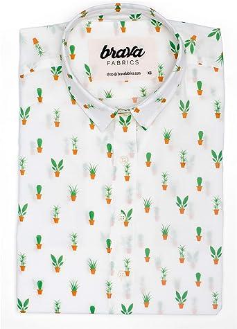Brava Fabrics | Blusa para Mujer | Camisa Blanca Estampada para Mujer | Modelo Apartment Plants | Talla 2XL: Amazon.es: Ropa y accesorios