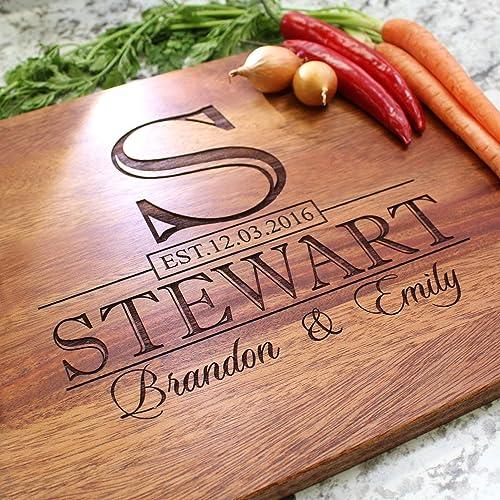 amazon com classic monogram wedding personalized cutting board
