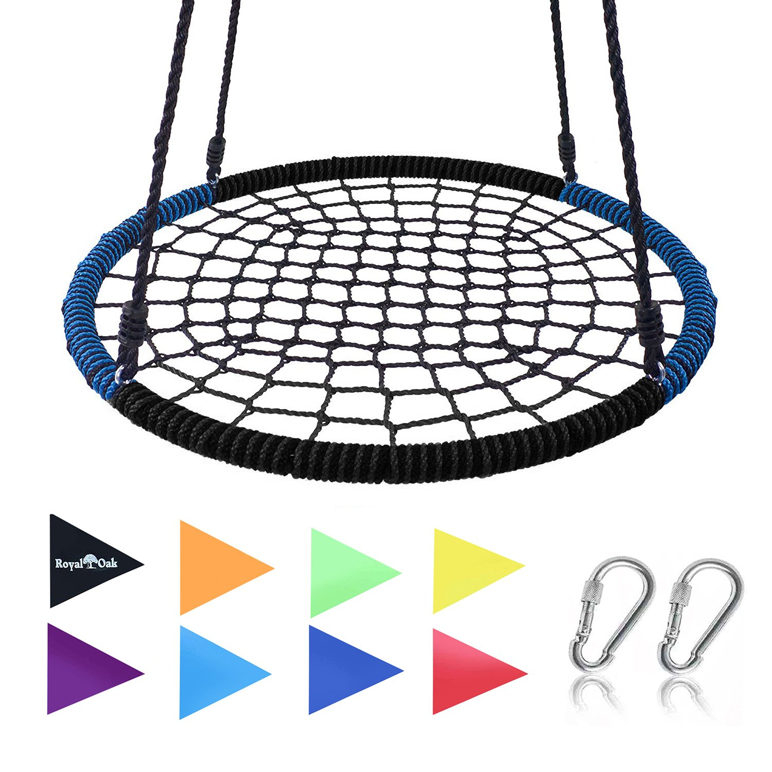 Giant 40'' Spider Web Tree Swing in Blue/Black, Ultra Strong Steel Frame, Industrial Grade Rope, Super Easy Instructions, Hangs In Seconds, No Assembly, Non-Stop Fun, Great For Kids and Parties! … by Royal Oak