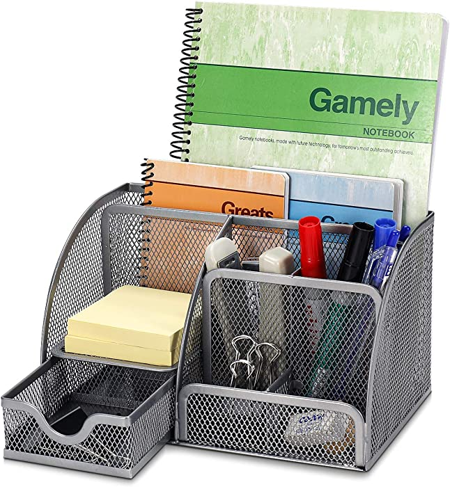 Flexzion Desk Organizer Office Supplies Accessories Desktop Tabletop Sorter Shelf Pencil Holder Caddy Set - Metal Mesh with Drawer and 6 Compartments (Silver Gray)