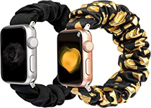 BMBEAR Compatible with Apple Watch Band 38mm 40mm 42mm 44mm Cloth Soft Floral Fabric Elastic Scrunchies Wristband iWatch Bands for Apple Watch Series 6,5,4,3,2,1