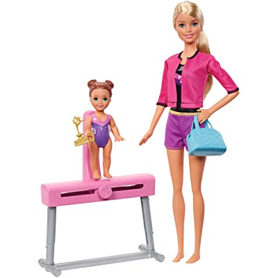 Barbie Ice-Skating Coach Dolls & Playset with Blonde Coach Barbie Doll, Brunette Small Doll and Balance Beam with Sliding Mechanism, Gift for 3 to 7 Year Olds: Toys & Games