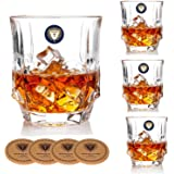 Storm Whiskey Glasses - Set of 4 - Old Fashioned Glasses with 4 Drink Coasters - Ultra Clarity Lead-free Crystal Glassware for Scotch, Bourbon, Liquor, Brandy - Elegant Gift Set