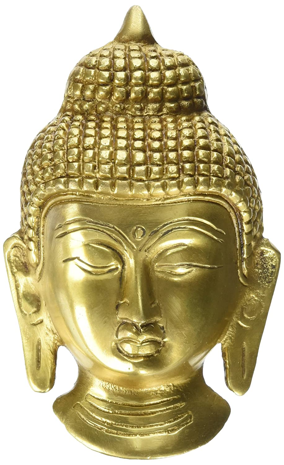 Amazon.com: Buddha Head Wall Sculpture Buddhism Decor Brass Metal ...