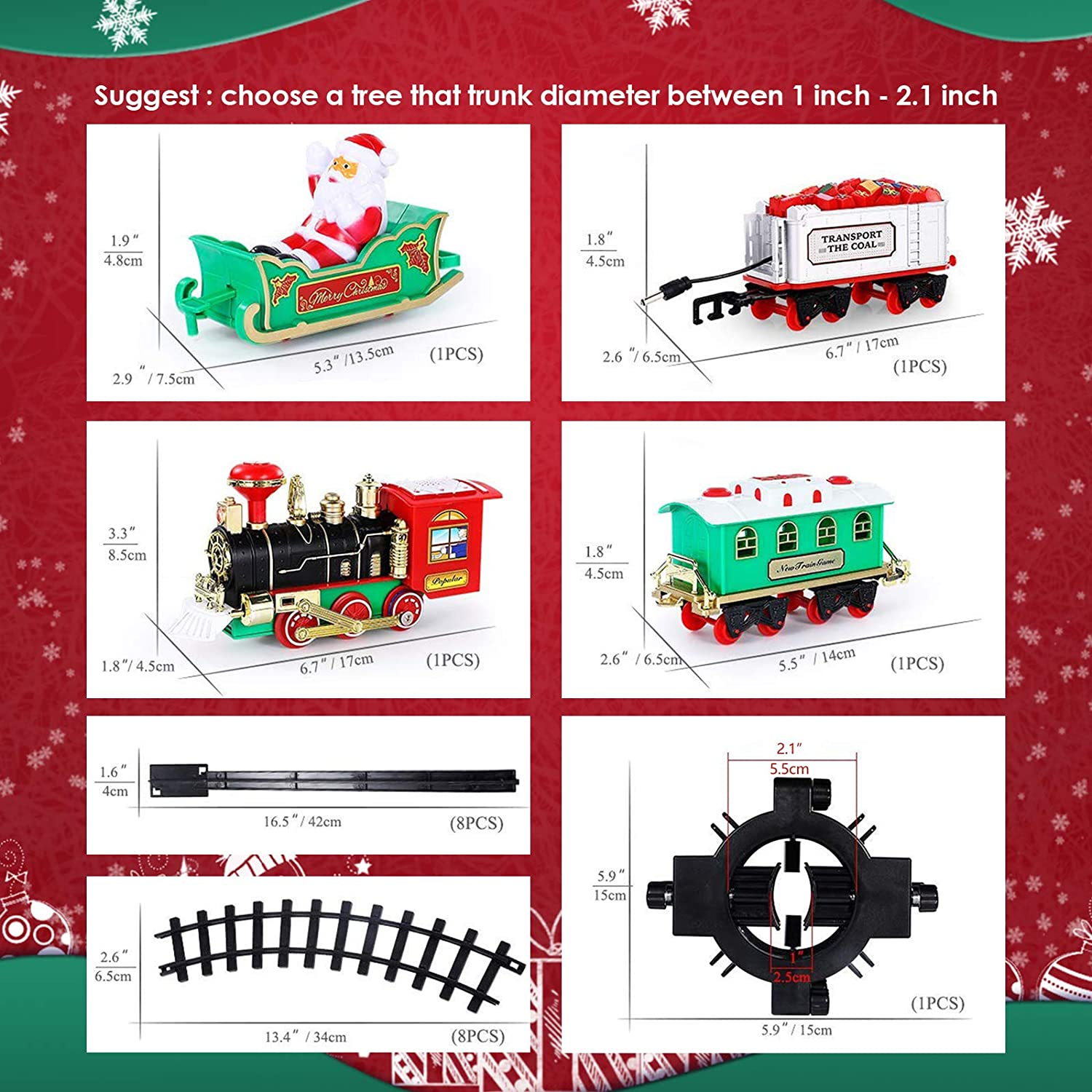 Boys /& Girls 30 Round Railway Tracks for Under//Around The Christmas Tree Battery Operated Toys Xmas Train Gift for Kids 2020 Updated Christmas Train Set AOKESI Toy Train Set with Lights /& Sounds