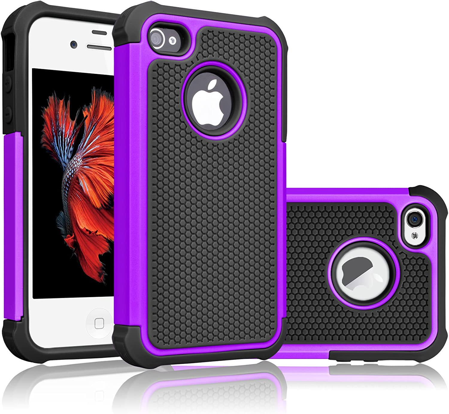Tekcoo for iPhone 4S Case, Tekcoo iPhone 4 / 4G Cover, [Tmajor] Shock Absorbing Hybrid Best Impact Defender Rugged Slim Grip Bumper Cover Shell Plastic Outer & Rubber Silicone Inner [Purple/Black]