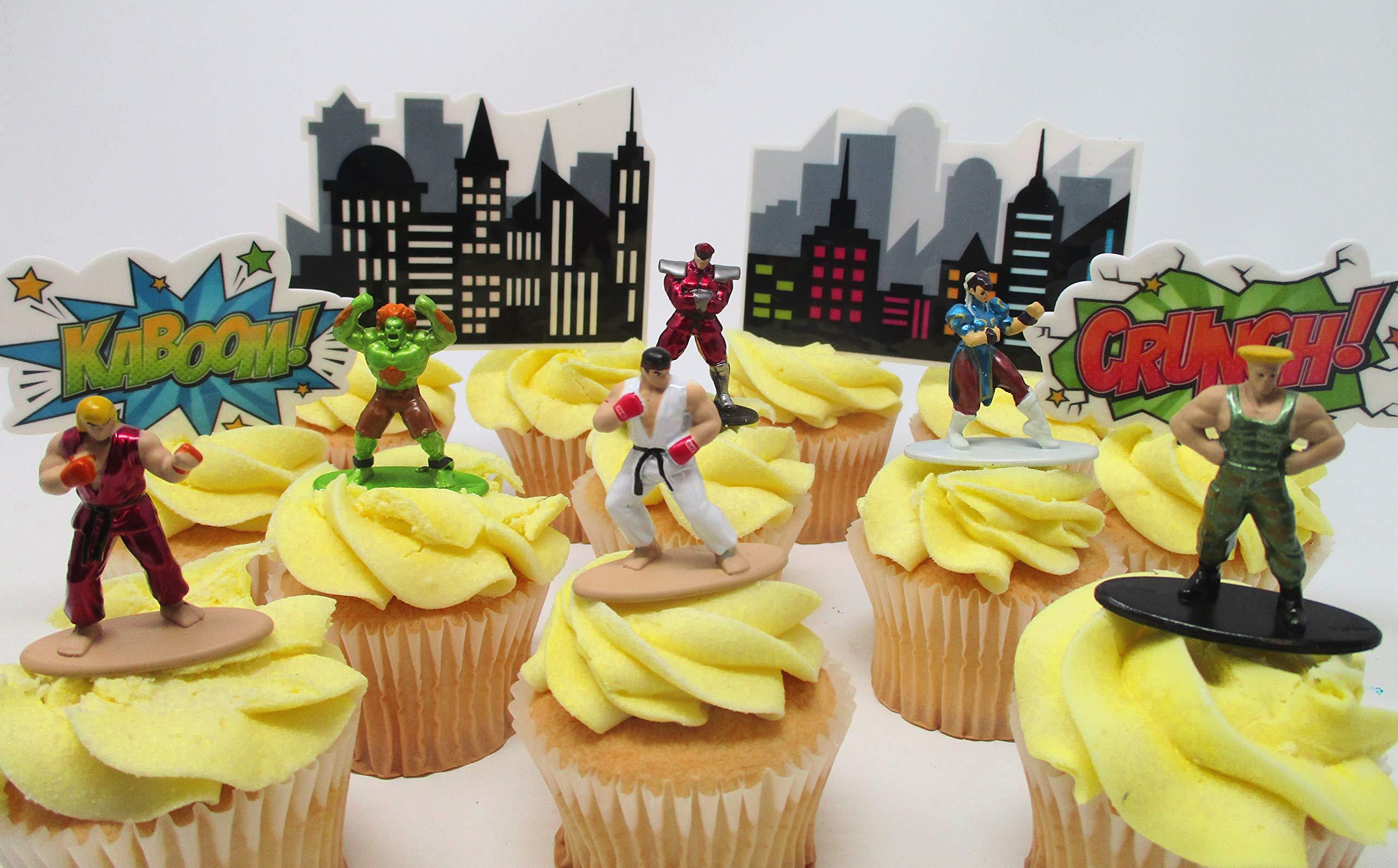 Street Fighter Cupcake Topper Featuring 6 RANDOM Street Fighter Figures