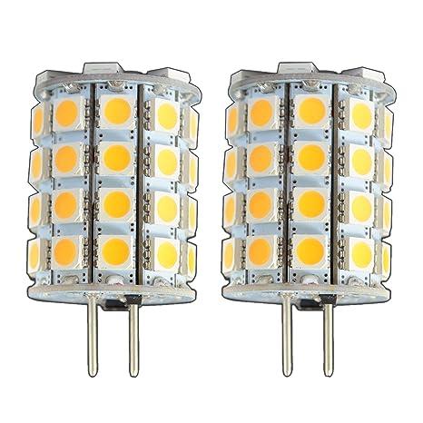 2x Stück - G6.35/GX6.35 LED 6 Watt 49x 5050 SMDs warmweiß A++ 12V~ AC/DC Wechselspannung 330° Stiftsockel Leuchtmittel Lampen