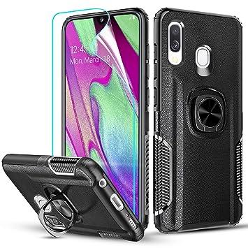 LeYi Funda Samsung Galaxy A40, Carcasa con HD Protector de Pantalla 360 Grados Metal Magnetica Anillo Soporte Hard PC y Soft TPU Gel Silicona Bumper ...