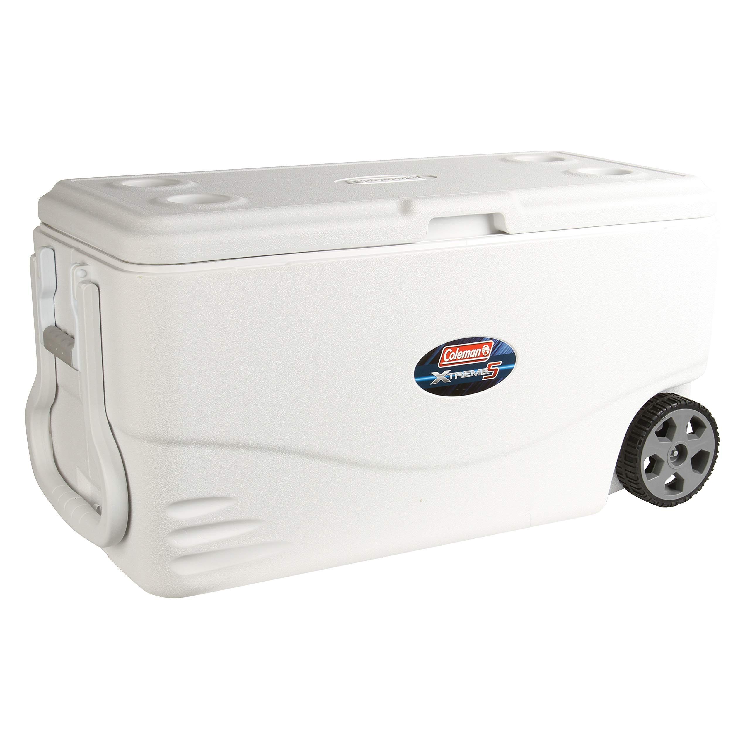 Coleman 100-Quart. Xtreme 5-Wheeled Cooler - White