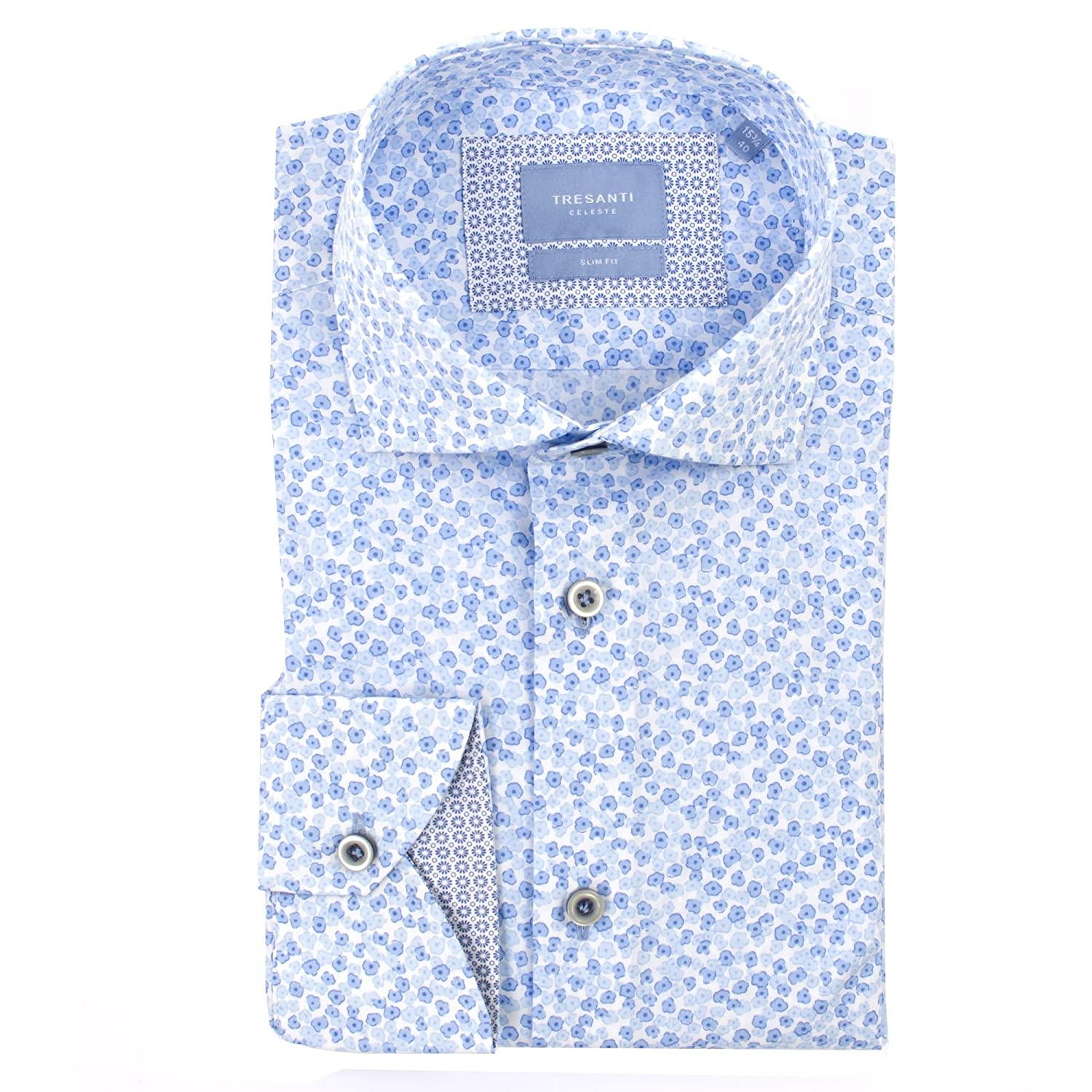 8f986d35471a70 Tresanti Mens White Shirt with Small Blue Flowers at Amazon Men's Clothing  store:
