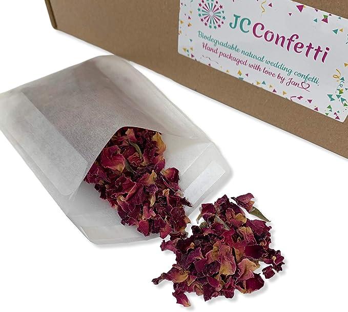 Confeti natural biodegradable para boda, pétalos de rosa, secado ...