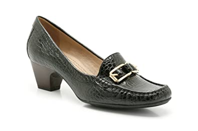 Ladies K by Clarks Wide Fitting Court Shoes Broad View - Black Croc - UK  Size