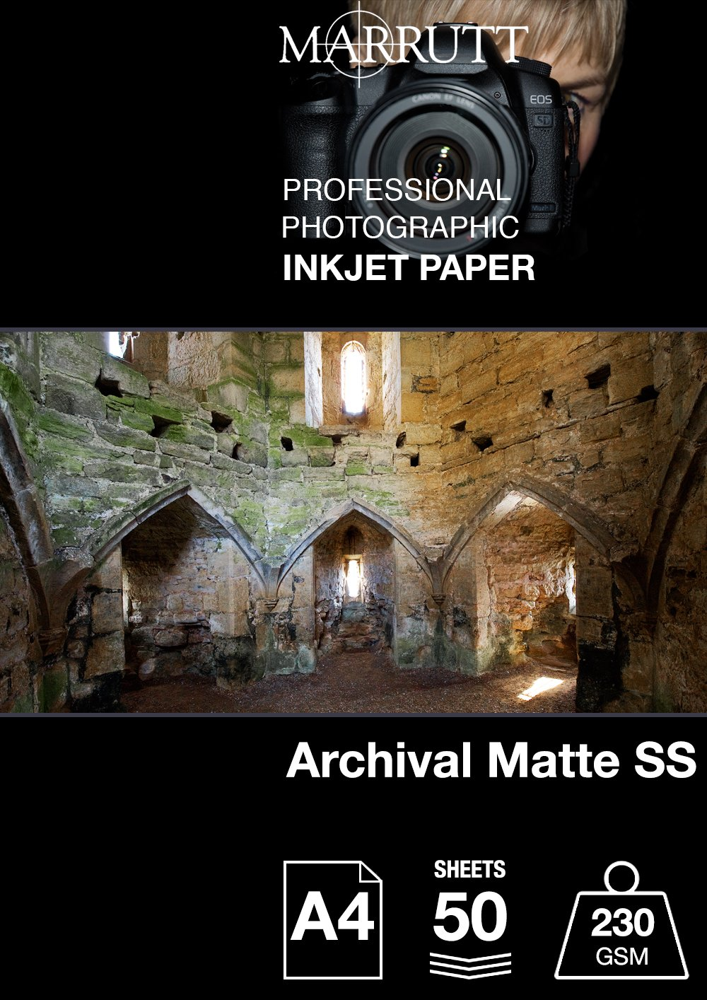 Marrutt 230  gsm Archival Matt Single Sided  –   A4, 50  fogli 50 fogli