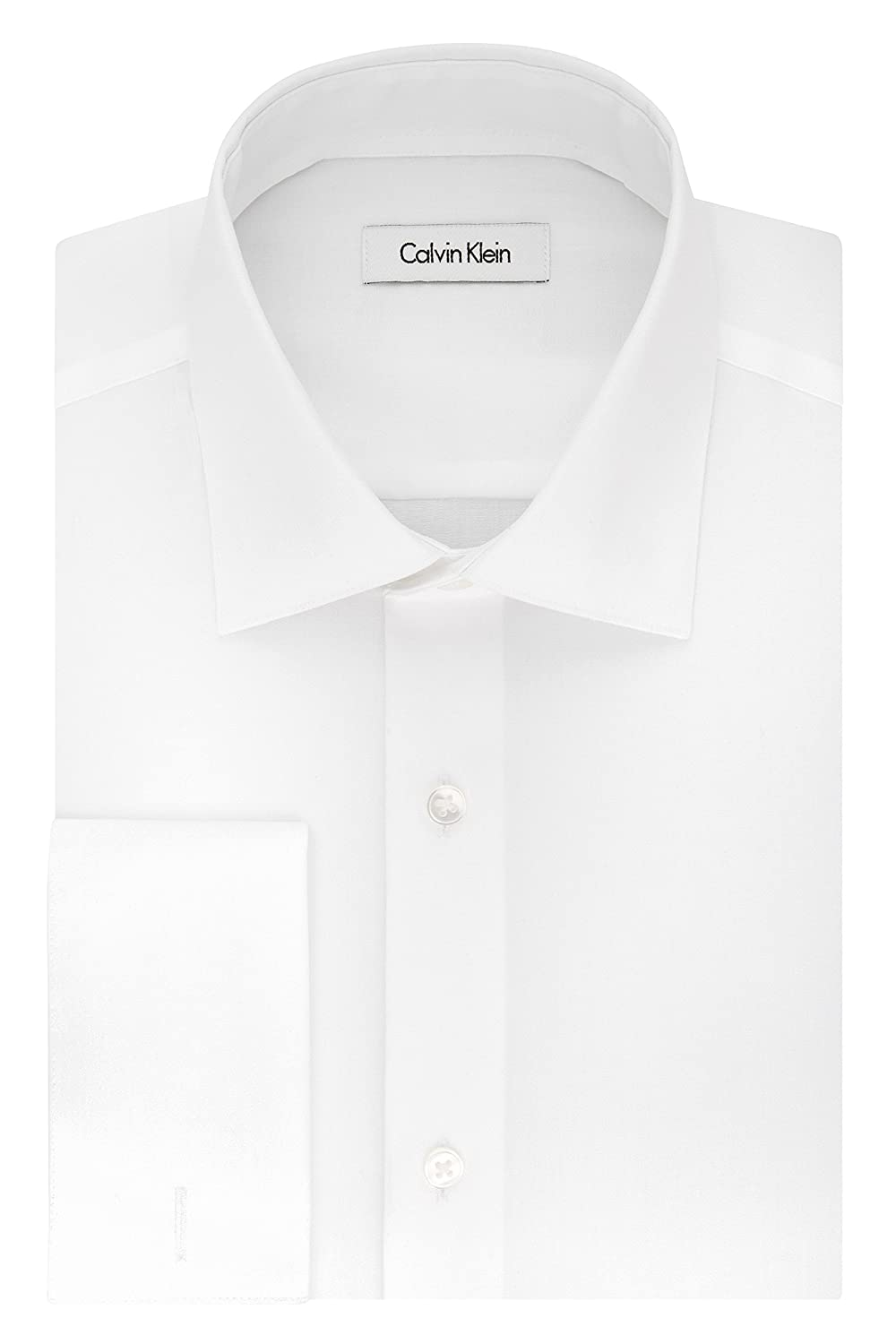 Calvin Klein Mens Dress Shirts French Cuff Shirts for Men Non Iron Regular Fit Herringbone Solid Spread Collar Calvin Klein Dress Shirts 33K3339