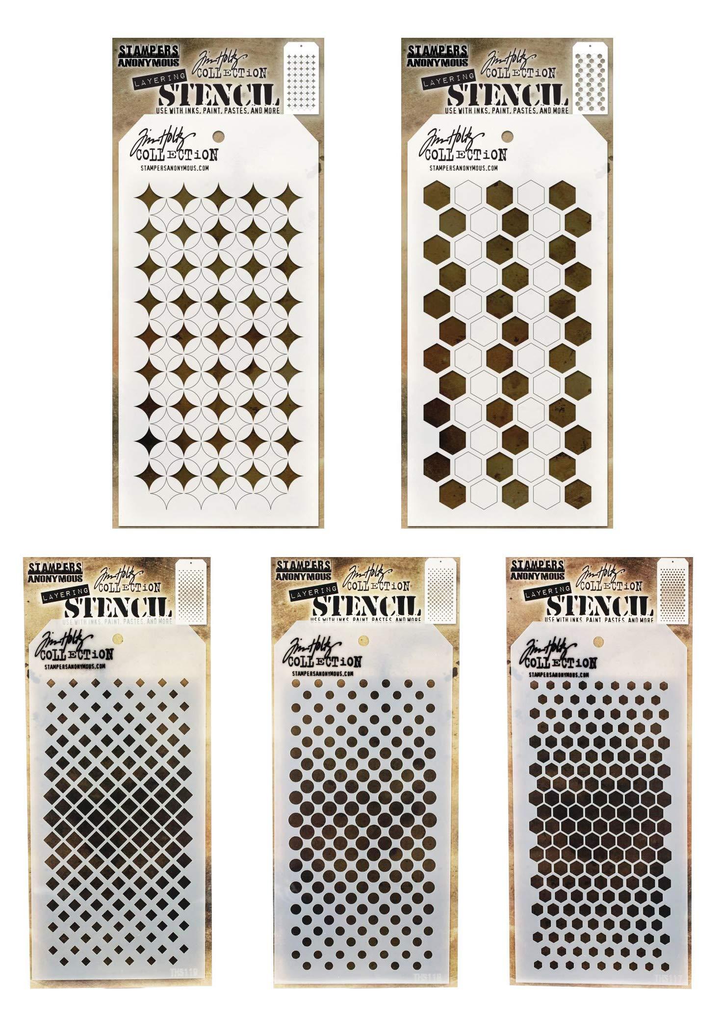 Tim Holtz - Stencils Set 18 - Five Item Bundle - Shifter Burst, Shifter Hex, Gradient Hex, Gradient Square, Gradient Dot