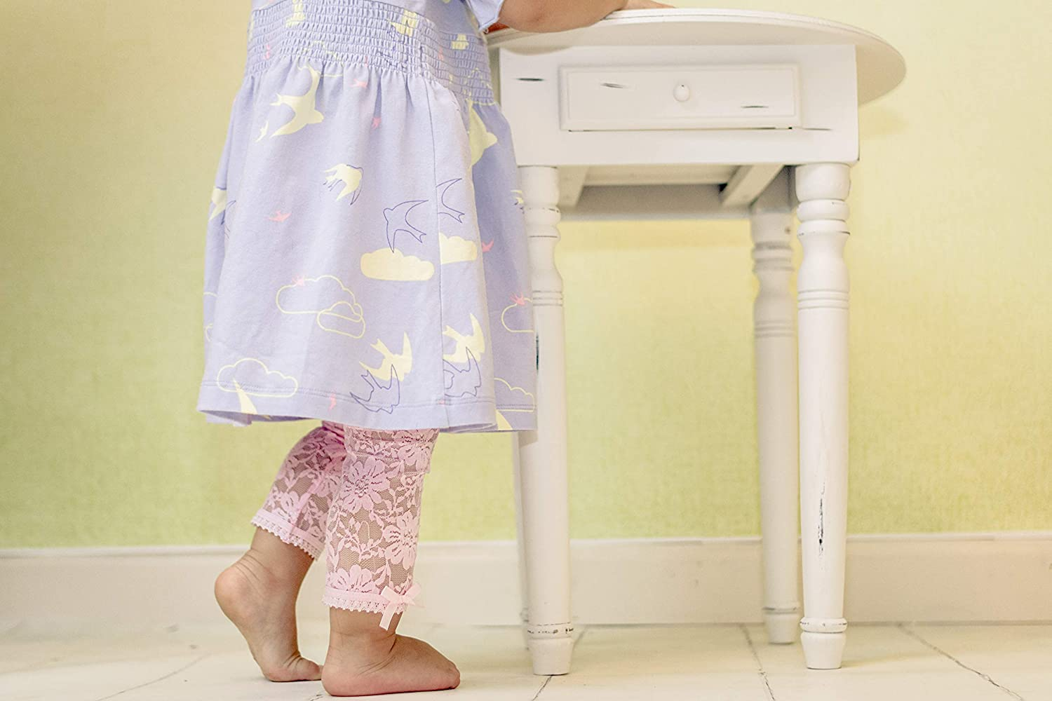 Off-White 12-24 Months Lace Leggings Toddler Girl Comfort Waist Soft No Scratch