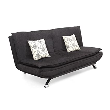 Forzza Vernon Three Seater Sofa Cum Bed (Black)