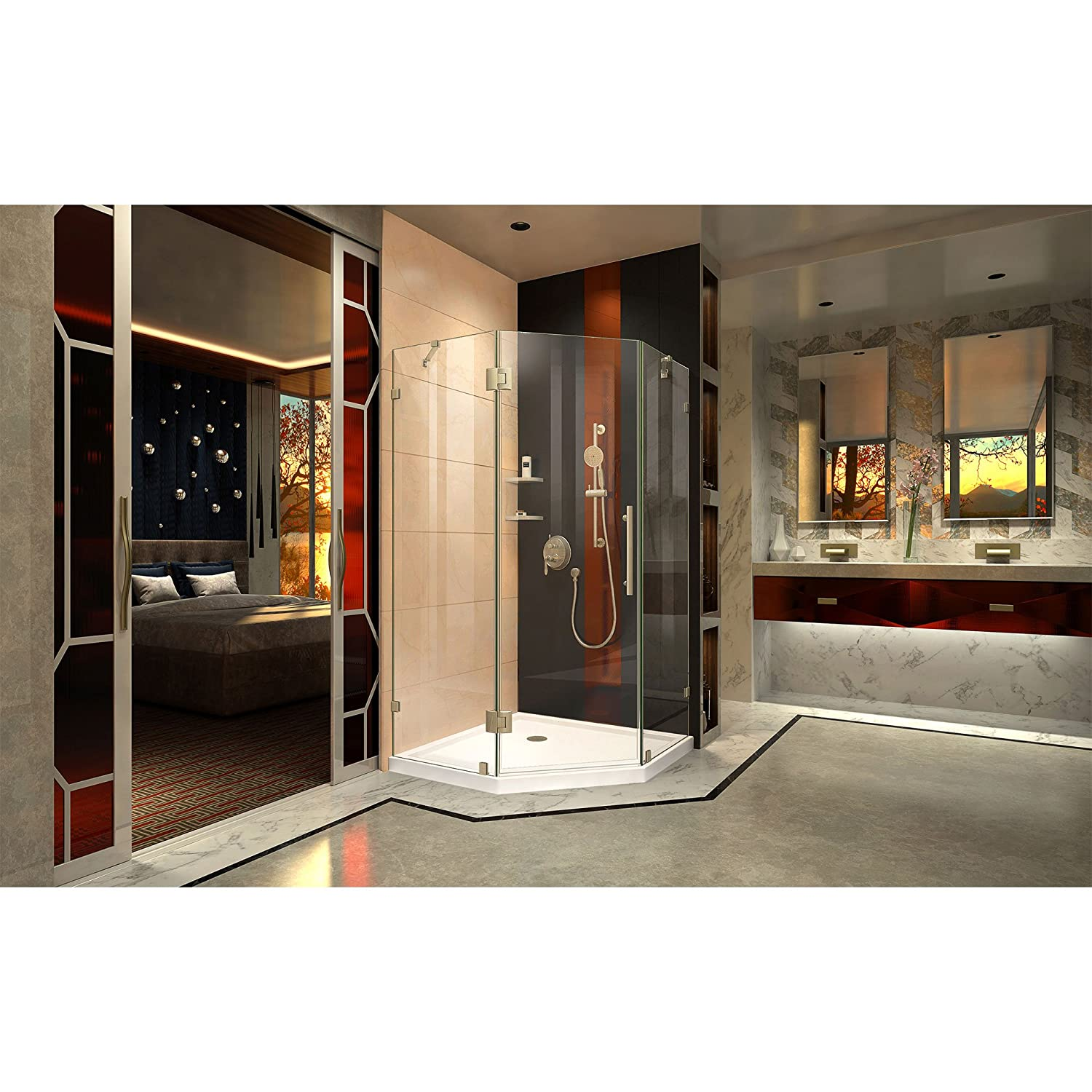 DreamLine Prism Lux 40 3/8 in. D x 40 3/8 in. W, Frameless Hinged ...