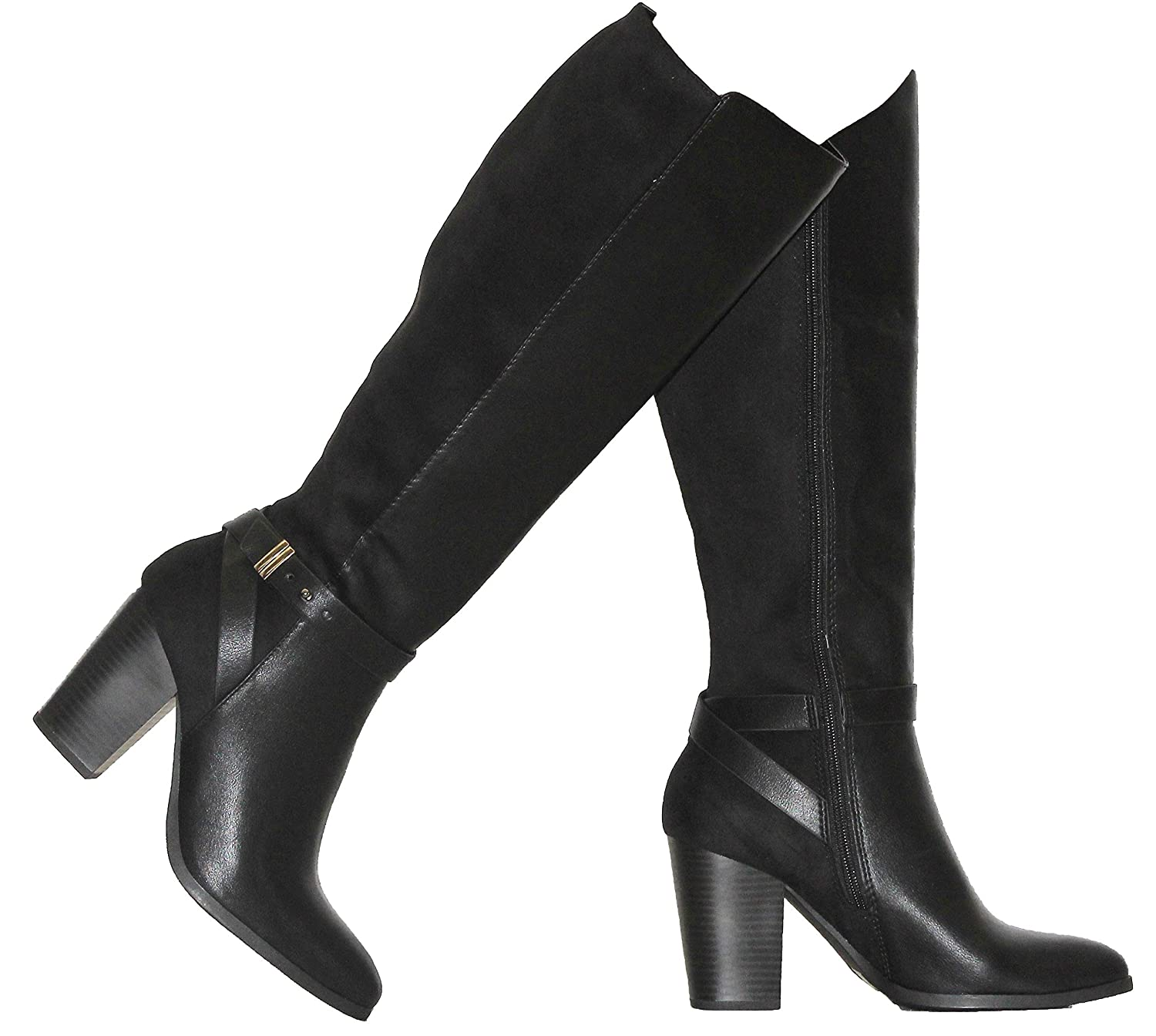 Black Pu Sue MVE shoes Women's Chunky Heel Ankle Strap Classy Knee High Boots