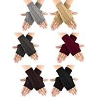 6 Pairs Unisex Fingerless Gloves Warm Knit Thumb Hole Gloves Mittens for Women and Men
