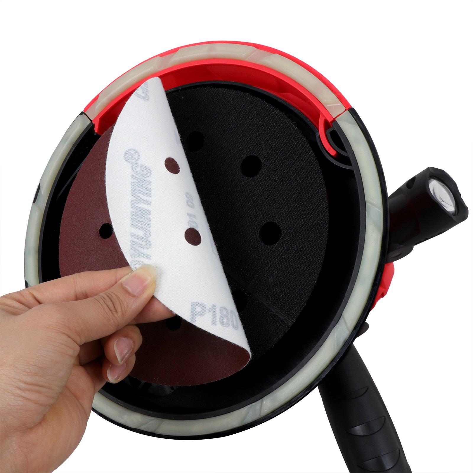 ZENY Electric Handheld Drywall Disc Sander 750W Adjustable Variable Speeds Vacuum Sander w/Sanding Pads & LED Light by ZENY (Image #7)