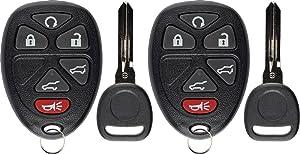 KeylessOption Keyless Entry Remote Car Key Fob for Tahoe Suburban Yukon Escalade 15913427 (Pack of 2)