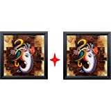 SAF 'Ganesha' Framed Painting (Wood, 12 inch x 12 inch) Pack of 2